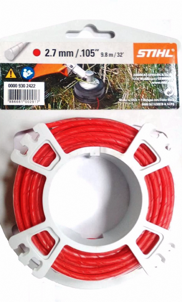 Genuine Stihl Trimmer line ROUND and QUIET (RED) 2.7mm x 9.8M Product Code 0000 930 2422